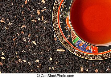 prima, chino, taza, hojas de té, mezcla