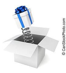 prima, dentro, regalo, simple, caja, concepto, one.