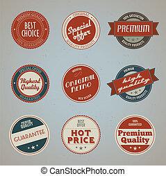 prima, etiquetas, conjunto, calidad