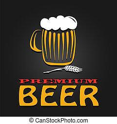 prima, jarro de cerveza, cebada, vendimia, diseño, cartel