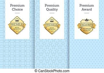 prima, opción, calidad, premio, vector, ilustración