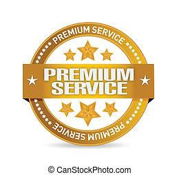 prima, servicio, oro, ilustración, diseño, sello