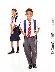 primaire, deux, debout, étudiants, école
