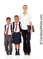 primaire, prof, étudiants, école
