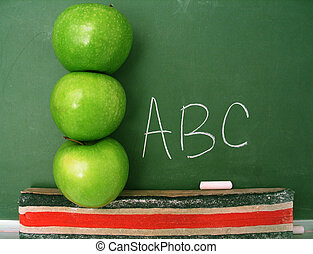 Primary Classroom - Classroom chalkboard with apples.