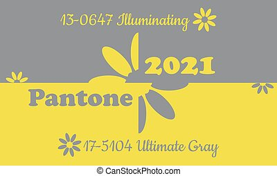 Primary colors 2021 by Pantone. Illuminating and Ultimate gray. Vector illustration.