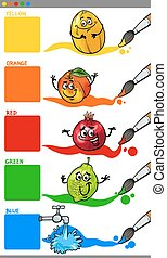 primary colors with cartoon fruits - Cartoon Illustration of...