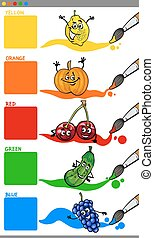 primary colors with fruit - Cartoon Illustration of Primary...