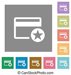 Primary credit card square flat icons