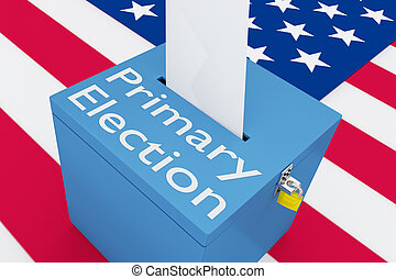 3D illustration of Primary Election script on a ballot box, with US flag as a background.