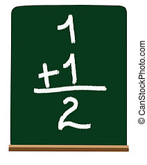 Primary school addition - Adding numbers on a chalboard at a...