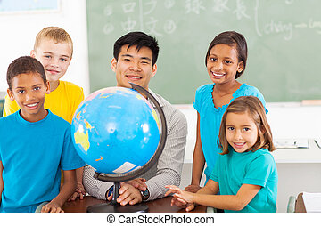 primary school geography teacher and students with a globe