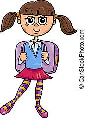 primary school girl cartoon illustration