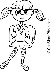 School Girl Character With Book Cartoon Illustration Of Happy