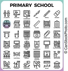 Primary school icon set