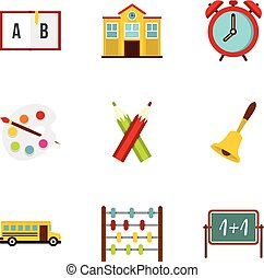 Primary school icons set, flat style