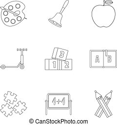 Primary school icons set, outline style