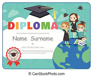 Primary School Kids Graduation Diploma certificate design template