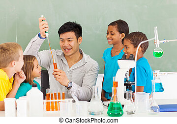 primary school science teacher demonstrating science experiment