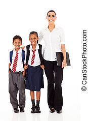 primary school teacher and students full length portrait on...