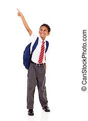 primary schoolboy pointing