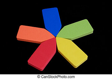 primary stars - star shape made of primary colored pieces