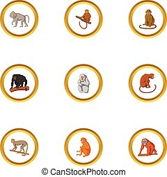 Primate icons set, cartoon style