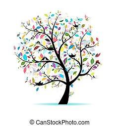 primavera, árbol, para, su, diseño