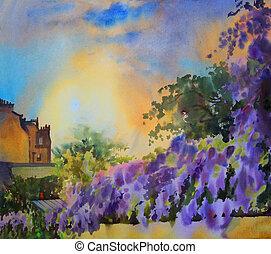 primavera, árvore, aquarela, florescer, quadro, paisagem