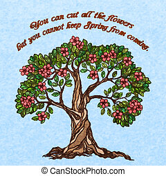 primavera, árvore, cartaz