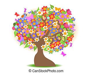 primavera, árvore, com, flores coloridas