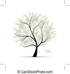 primavera, árvore, verde, para, seu, desenho
