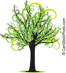 primavera, árvore, vetorial