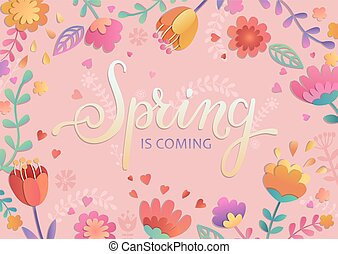 primavera, è, venuta, scheda, con, lettering.