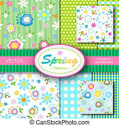 primavera, 8, vettore, seamless, patterns;