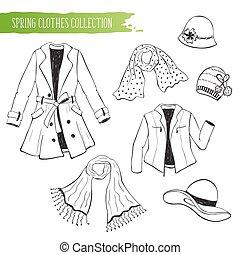primavera, abbigliamento, collezione