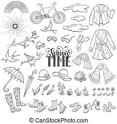 primavera, accessori, tempo