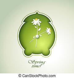 primavera, alarma, flores, verde, reloj
