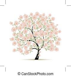 primavera, albero, con, fiori, per, tuo, disegno