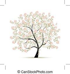 primavera, albero, con, rose, per, tuo, disegno
