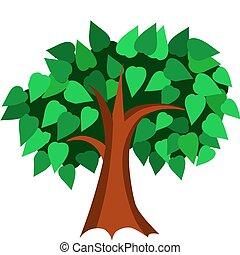 primavera, albero, con, verde, mette foglie, vettore, illustrazione