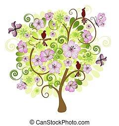 primavera, albero, decorativo