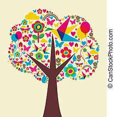 primavera, albero, fondo, tempo