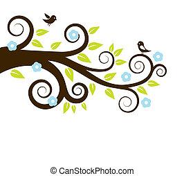 primavera, albero, uccelli