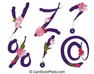 primavera, alfabeto, letras, y