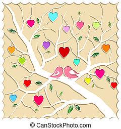 primavera, amor, árbol, y, aves