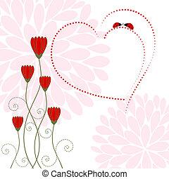 primavera, amor, tarjeta, con, flor