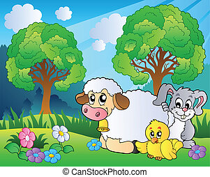 primavera, animais, prado