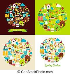 primavera, apartamento, objetos, jardim, conceitos