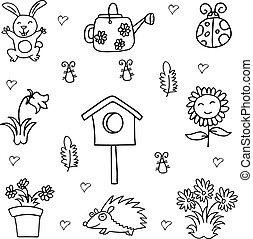 primavera, arte, cobrança, doodle